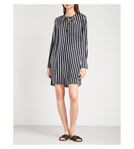 DIANE VON FURSTENBERG Striped stretch-silk mini dress (Whiston+black