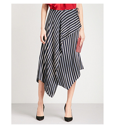 DIANE VON FURSTENBERG Asymmetric striped stretch-silk midi skirt (Whiston+black