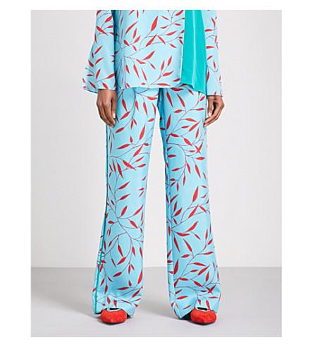 DIANE VON FURSTENBERG Leaf-patterned wide high-rise silk trousers (Shelton+marine+jade