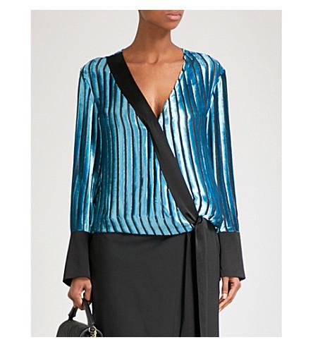 DIANE VON FURSTENBERG Devoré striped V-neck velvet blouse (Black+marine+black