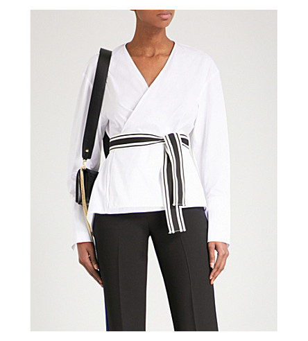 DIANE VON FURSTENBERG Belted cotton-poplin wrap top (White