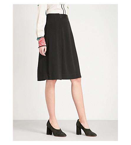 DIANE VON FURSTENBERG Pleated high-rise crepe skirt (Black