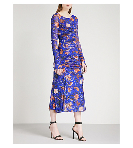 DIANE VON FURSTENBERG Canton-print fitted mesh and silk midi dress (Canton+electric+blue
