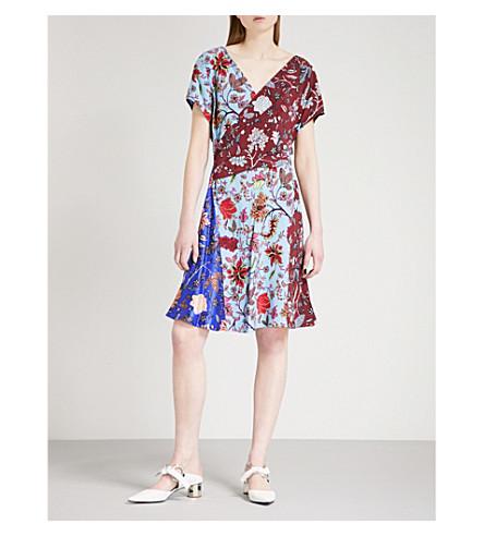 DIANE VON FURSTENBERG Patchwork canton-print silk-crepe de chine wrap dress (Canton+electric+mutli