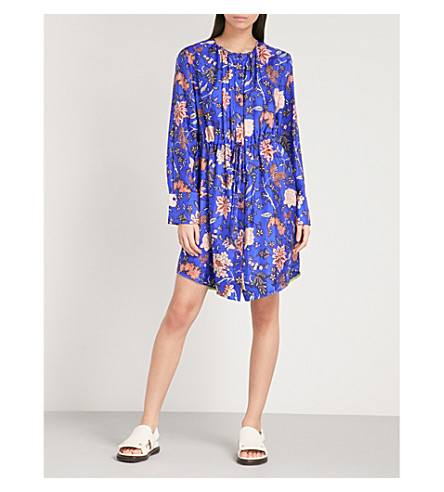 DIANE VON FURSTENBERG Floral-print silk shirt dress (Canton+electric+blue