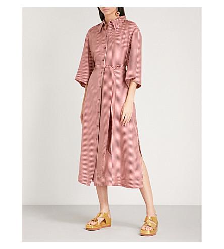 DIANE VON FURSTENBERG 条纹丝绸斜纹衬衫连衣裙 (Emory+striped+bordeaux