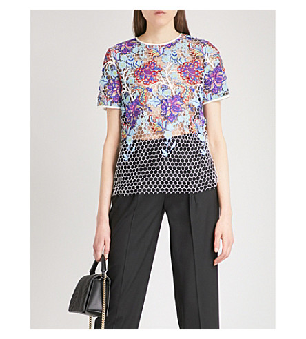 DIANE VON FURSTENBERG Honeycomb lace-embroidered top (Ivory+multi