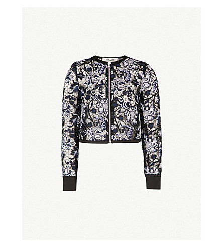 DIANE VON FURSTENBERG Honeycomb lace-embroidered jacket (Black+multi