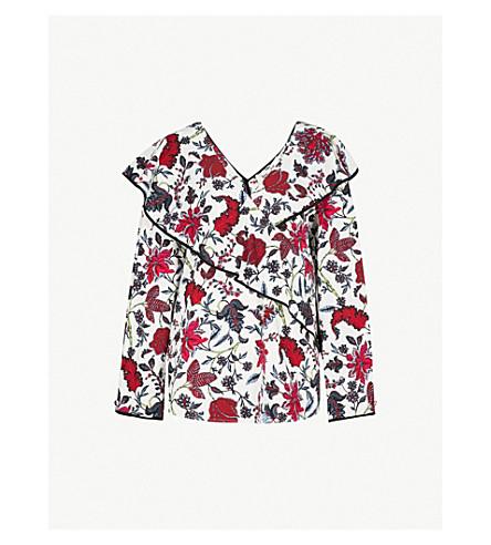 DIANE VON FURSTENBERG Canton-print ruffled cotton blouse (Canton+ivory