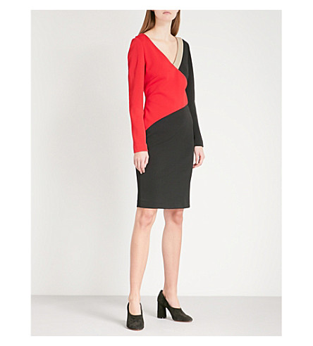 DIANE VON FURSTENBERG Geometric-panel fitted woven dress (Lipstick+black+dune