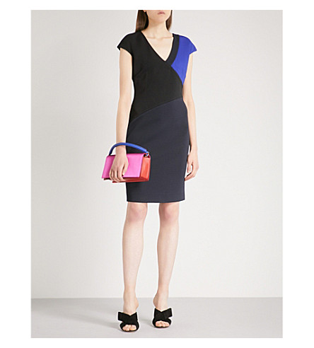 DIANE VON FURSTENBERG Geometric-panel fitted woven dress (Black+electric+blue+navy