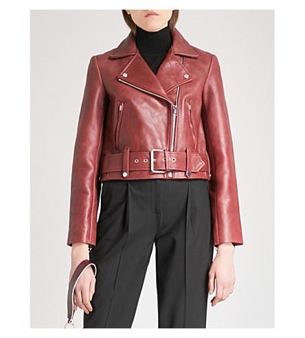 DIANE VON FURSTENBERG Biker-collar cropped leather jacket (Red+wine