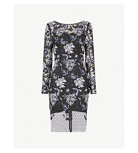 DIANE VON FURSTENBERG Floral-embroidered lace dress (Black+multi