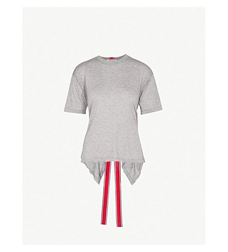 DIANE VON FURSTENBERG Back Ribbon jersey T-shirt (Grey+melange