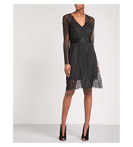 DIANE VON FURSTENBERG Floral-lace wrap dress (Black