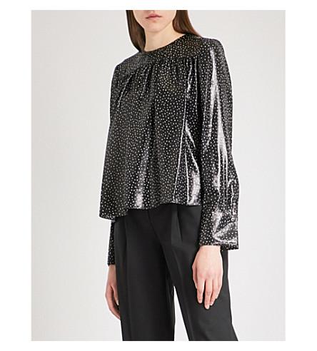 DIANE VON FURSTENBERG Polka dot silk-blend top (Irvine+dot+black