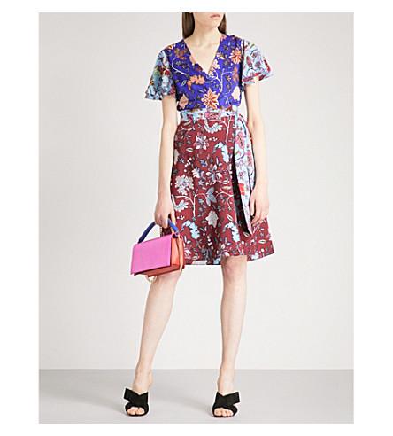 DIANE VON FURSTENBERG Patchwork canton-print silk dress (Canton+electric+blue
