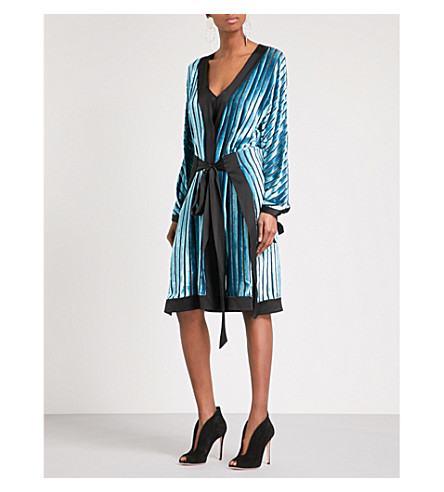 DIANE VON FURSTENBERG Kimono velvet devoré dress (Black+marine+black