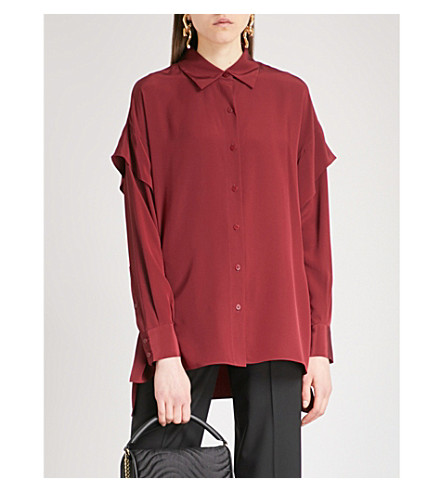DIANE VON FURSTENBERG Flared-sleeve silk shirt (Bordeaux