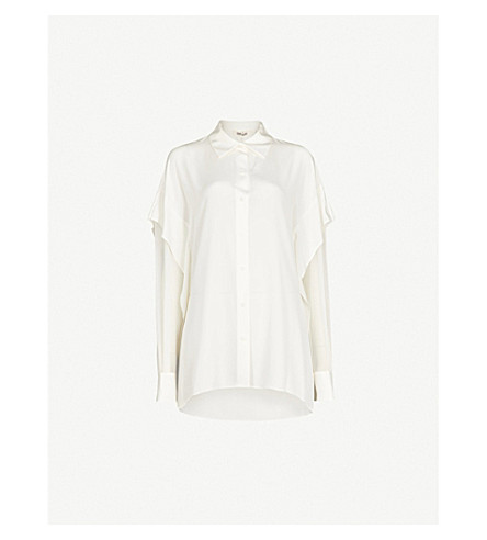 DIANE VON FURSTENBERG Flared-sleeve silk shirt (Ivory