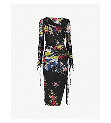 DIANE VON FURSTENBERG Floral-print stretch-silk mesh dress (Camden+black