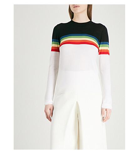 DIANE VON FURSTENBERG Rainbow striped merino wool jumper (Ivory+multi