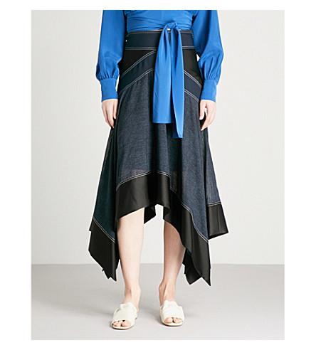 DIANE VON FURSTENBERG Handkerchief-hem high-rise crepe skirt (Indigo+black