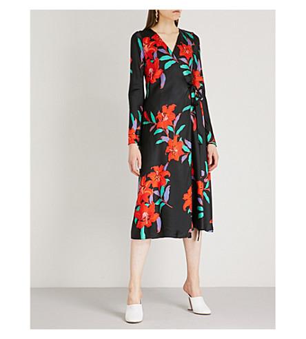 DIANE VON FURSTENBERG Wrap-over silk midi dress (August+black