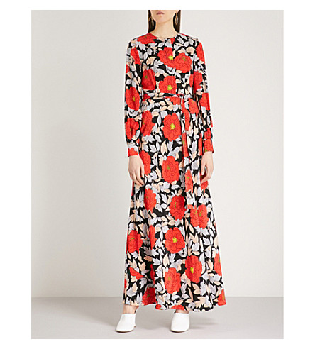 DIANE VON FURSTENBERG Floral-print silk maxi dress (Bowell+black