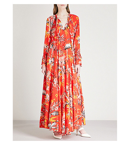 DIANE VON FURSTENBERG Floral-print silk-crepe maxi dress (Avalon+poppy
