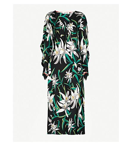 DIANE VON FURSTENBERG Floral-print V-neck stretch-silk midi dress (Harlow+black