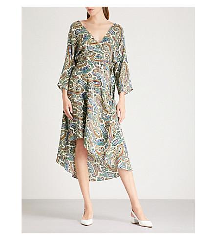 DIANE VON FURSTENBERG Floral-print silk midi dress (Barton+logo+ivory