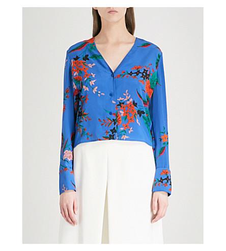DIANE VON FURSTENBERG Floral-print V-neck silk shirt (Camden+cove