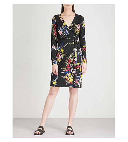 DIANE VON FURSTENBERG Julian floral-print wrap dress (Camden+black