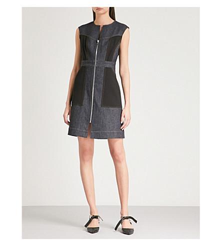 DIANE VON FURSTENBERG Zip-up stretch-denim mini dress (Indigo+black