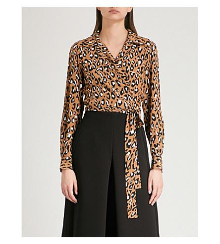 DIANE VON FURSTENBERG Leopard-print silk wrap top (Whitman+beige