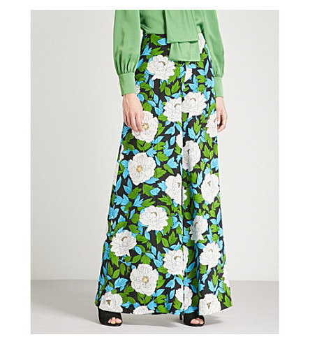 DIANE VON FURSTENBERG Floral-print wide-leg silk trousers (Boswell+ivory