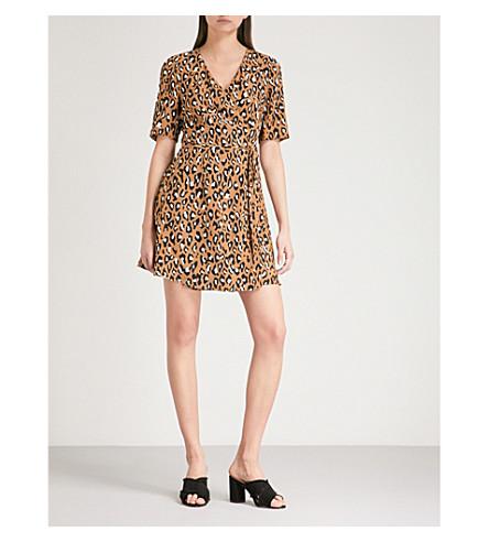 DIANE VON FURSTENBERG Leopard-print silk wrap dress (Whitman+beige