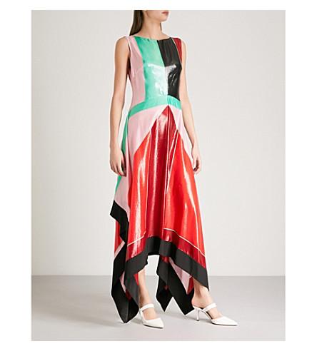 DIANE VON FURSTENBERG Patent-effect panelled silk-blend dress (Baitman+spearmint