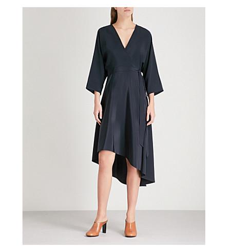 DIANE VON FURSTENBERG Asymmetric-hem silk dress (Alexandra+navy