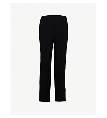 DIANE VON FURSTENBERG Side-stripe straight crepe trousers (Black