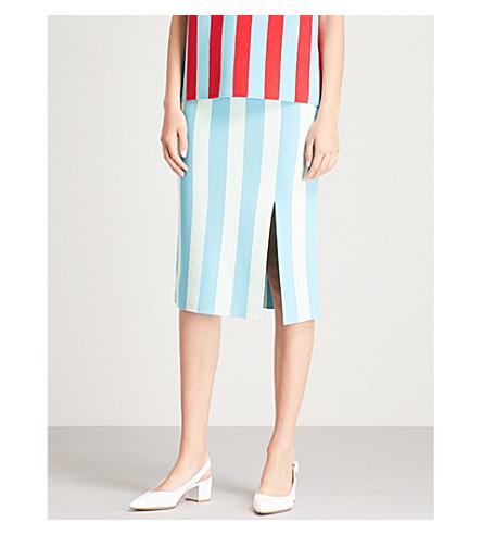 DIANE VON FURSTENBERG 条纹弹力平纹针织迷笛裙 (太平洋/苍白 + 薄荷