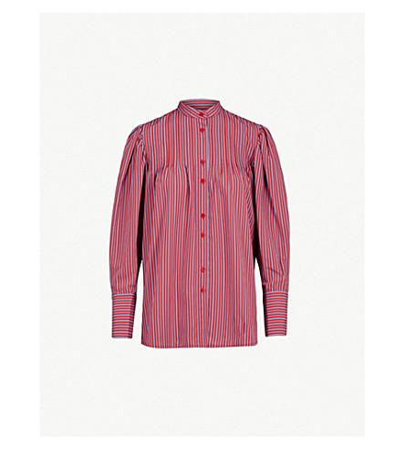 DIANE VON FURSTENBERG 条纹绉衬衫 (地平线/樱桃