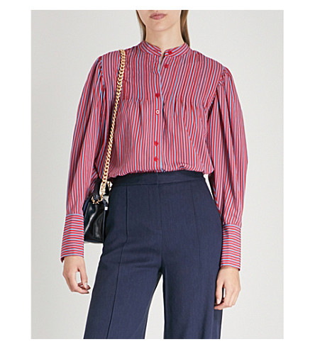 DIANE VON FURSTENBERG Striped crepe shirt (Horizon/cherry