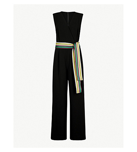 DIANE VON FURSTENBERG Belted wrap-over woven jumpsuit (Black