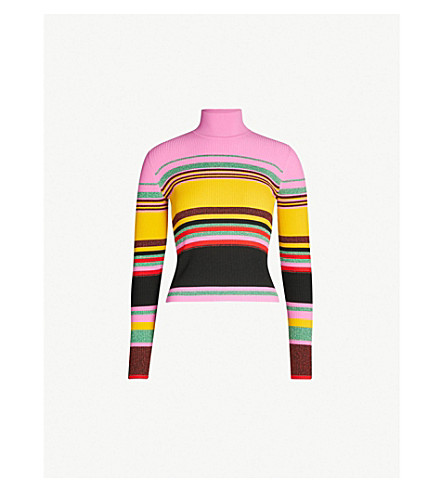 DIANE VON FURSTENBERG Dara metallic colour-block stretch-jersey jumper (Bubblegum multi
