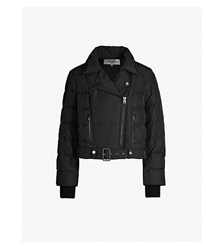 DIANE VON FURSTENBERG Buckled-waist biker jacket (Black