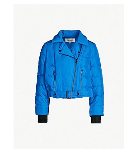 DIANE VON FURSTENBERG Buckled-waist biker jacket (Lapis