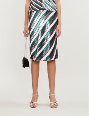 Striped sequinned high-rise skirt