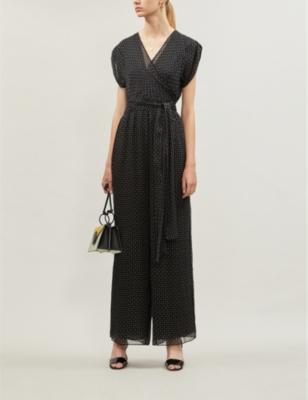 Cassandra geometric-print silk-crepe jumpsuit